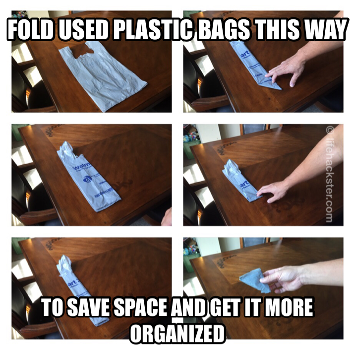 fold your used grocery plastic bags to save space life hackster. Black Bedroom Furniture Sets. Home Design Ideas